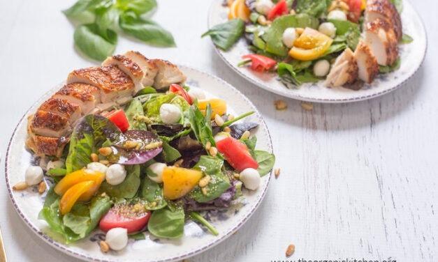 Easy Caprese Salad with Pesto Vinaigrette